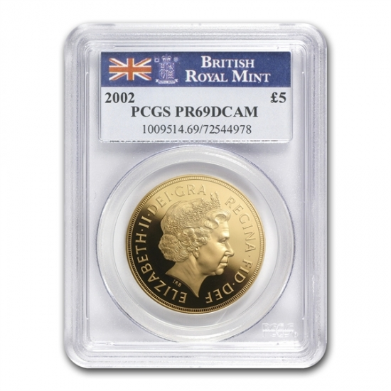 Great Britain 2002 Gold 5 Pounds Queen's Jubilee PR-69 DCAM PCGS