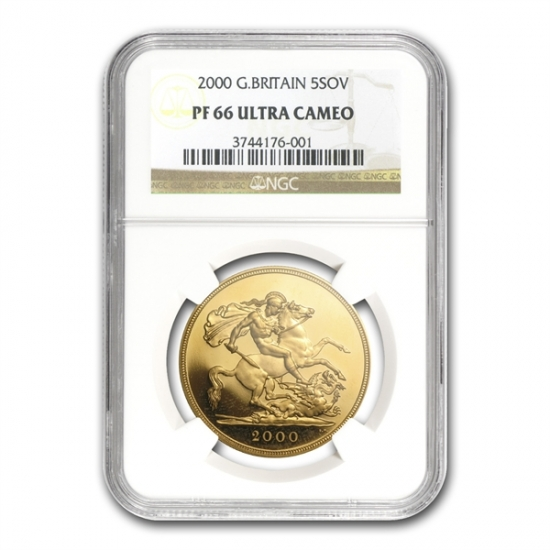Great Britain 2000 Gold 5 Pounds Sovereign PF-66 UCAM NGC