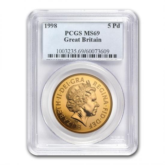 Great Britain 1998 Gold 5 Pounds Sovereign PR-69 DCAM PCGS