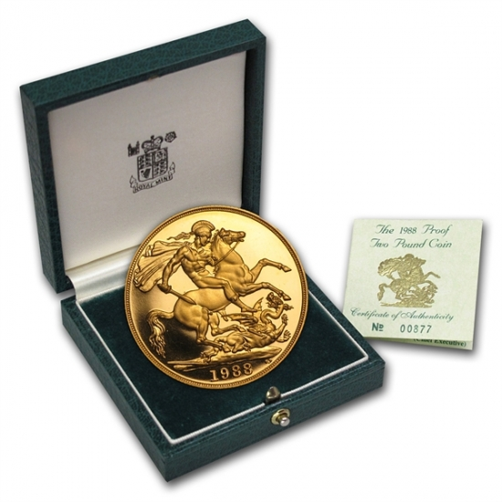 Great Britain 2 Pound Gold Proof Coin w/Box & COA