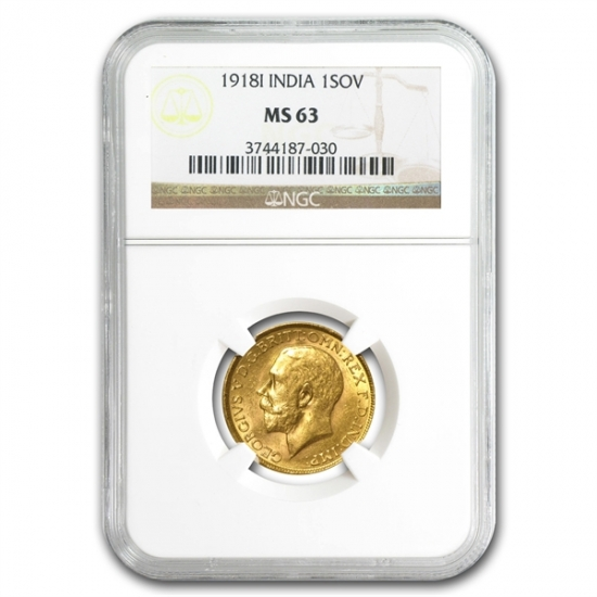 India 1918 Sovereign of George V MS-63 PCGS/NGC