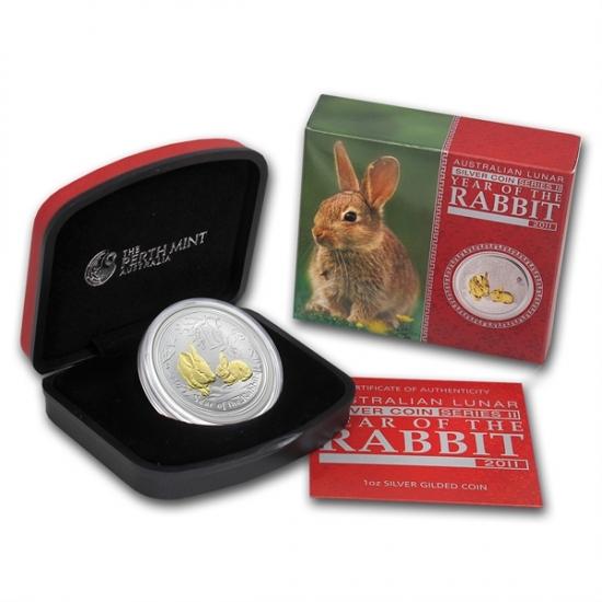 2011年製 兎(ウサギ)銀貨 1オンス  箱と説明書付き。