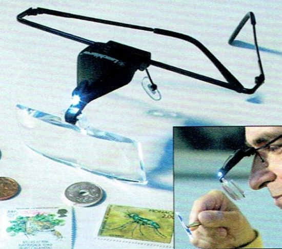 【ライトハウス社製】LEDライト付き 眼鏡タイプの拡大鏡 虫眼鏡 1.5-3.5倍