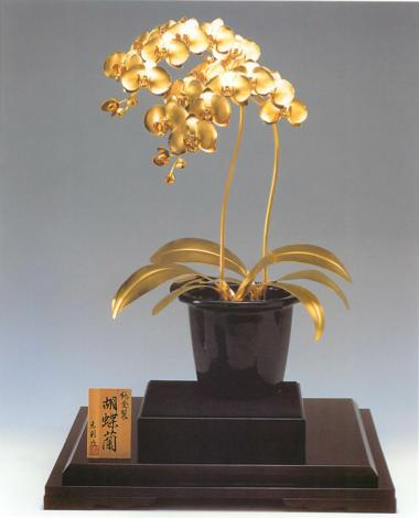 2 pure gold Orchis graminifolia bookends A 1,650 g (440*440*780mm)