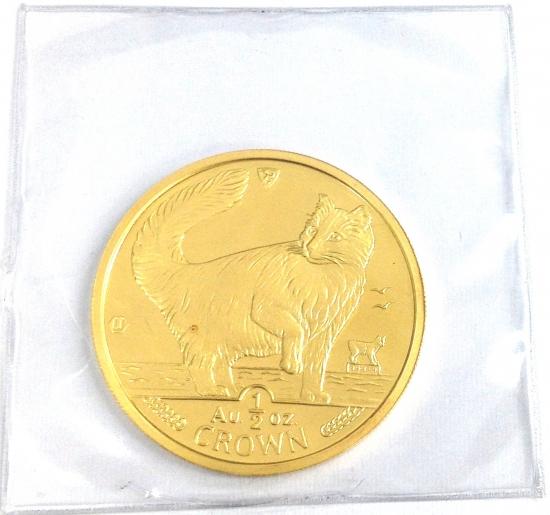 マン島キャット金貨1991年製 1/2オンス クリアーケース付き
