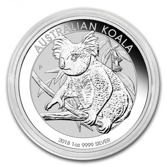 新品未使用 2018 オーストラリア コアラ銀貨 1オンス 5枚セット  41mmクリーアーケース付き