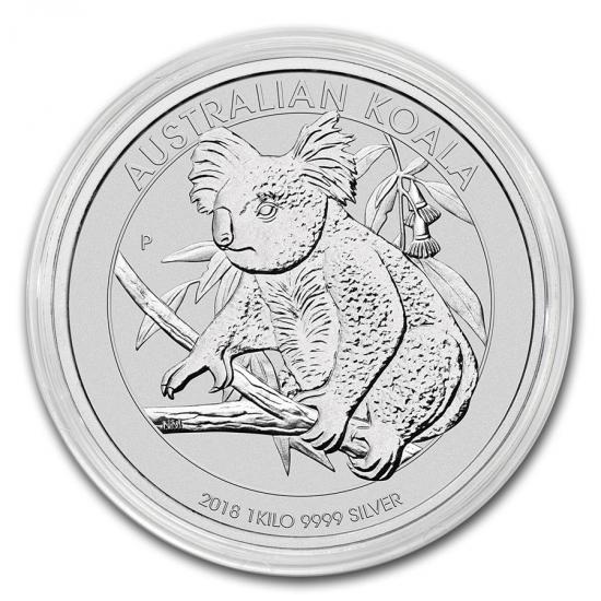 新品未使用 2018 オーストラリア コアラ銀貨【 1キロ】 クリアーケース付き
