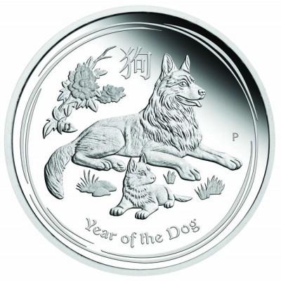 新品未使用 2018 オーストラリア 干支 犬 銀貨 1/2オンス 「プルーフ箱付き」 クリアーケース付き