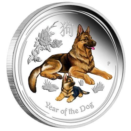 新品未使用 2018 オーストラリア 干支 犬 銀貨 1オンス カラー「プルーフ箱付き」 クリアーケース付き