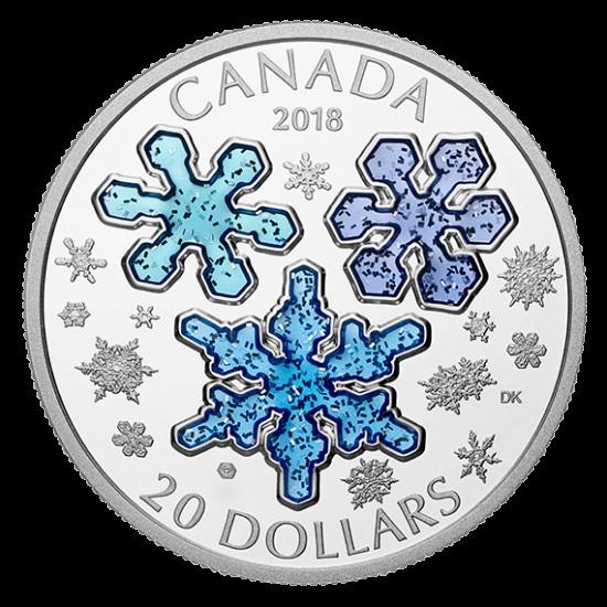 新品未使用 2018 1オンス 銀貨 アイスクリスタル ケース付き カナダ