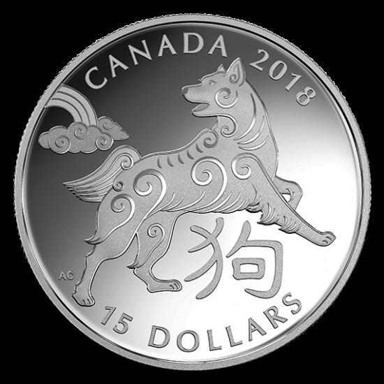 新品未使用 2018  1オンス 銀貨 狗年 ケース付き カナダ