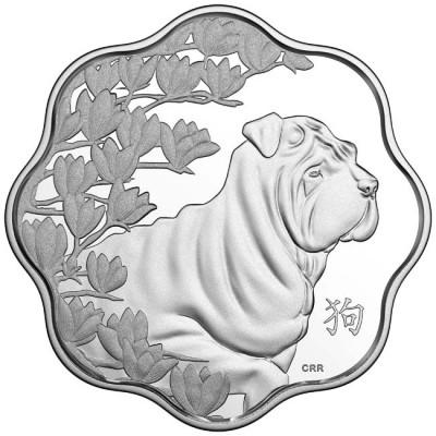 新品未使用 2018 カナダ 犬年銀貨 変わった形 26.17g 箱とクリアーケース付き