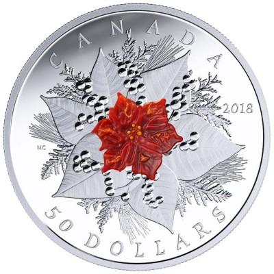 新品未使用 2018 カナダ HOLIDAY SPLENDOUR銀貨 5オンス  箱とクリアーケース付き