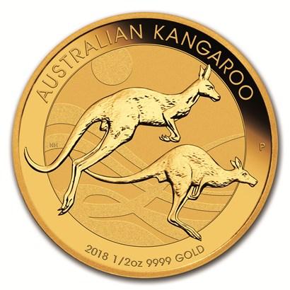 新品未使用 2018 オーストラリア、カンガルー金貨 1/2オンス 26mmクリアーケース付き