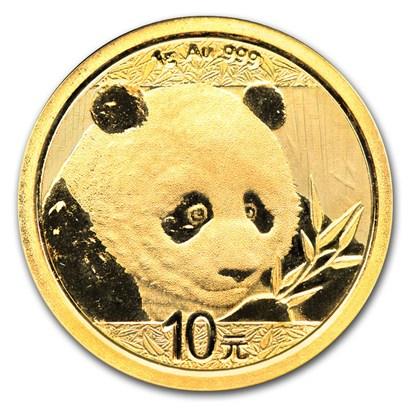 新品未使用 2018 中国 パンダ金貨 1グラム 10元 真空パック入り