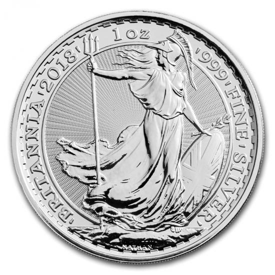新品未使用 2018 イギリス ブリタニア銀貨1オンス 5枚セット (39mmクリアーケース5枚付き)