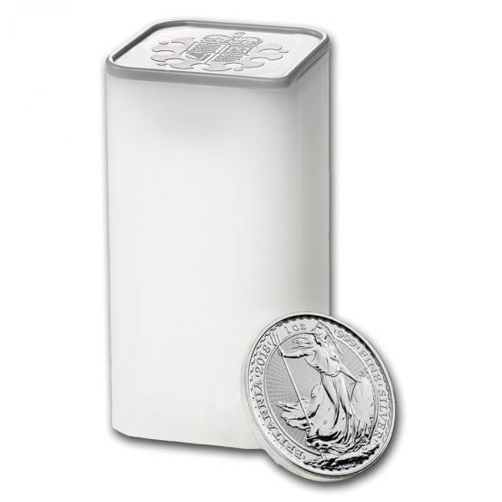 新品未使用 2018 イギリス ブリタニア銀貨1オンス25枚セット (ミントロールと39mmクリアーケース25枚付き)
