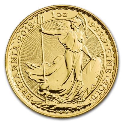 新品未使用 2018 イギリス ブリタニア金貨 1オンス 33mmクリアーケース付き