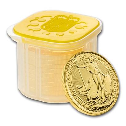 新品未使用 2018 イギリス ブリタニア金貨 1オンス10枚セット 33mmクリアーケース付き