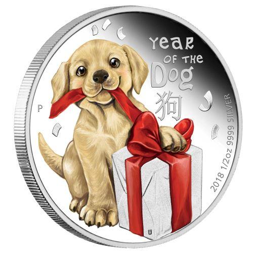 新品未使用 2018 子犬 1/2オンス オーストラリア 銀貨 プルーフコイン 箱付き