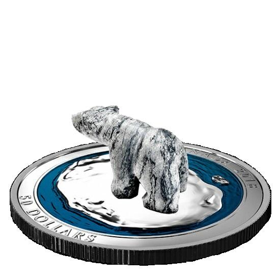 新品未使用 2018 5オンス 銀貨 白クマ凍石彫刻 ケース付き カナダ