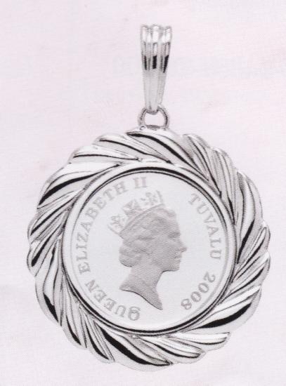 ホースコイン1/5オンス用 デザインOG-027 ペンダント枠 両面デザイン Pt900