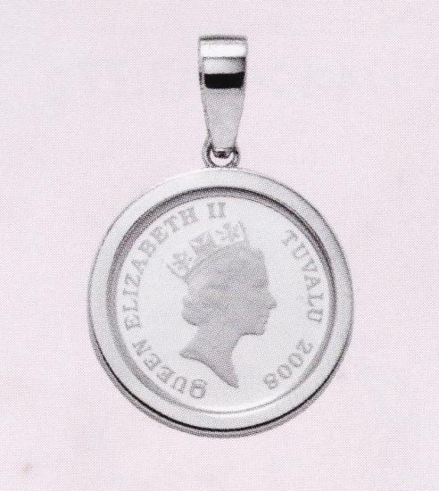ホースコイン1/10オンス用 デザインOG-058 ペンダント枠 両面ガラスタイプ Pt900