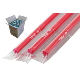 フレックスストロー 6mm×21cm フィルム包装 赤色 500本入×20箱【メーカー直送・代引き不可・時間指定不可】