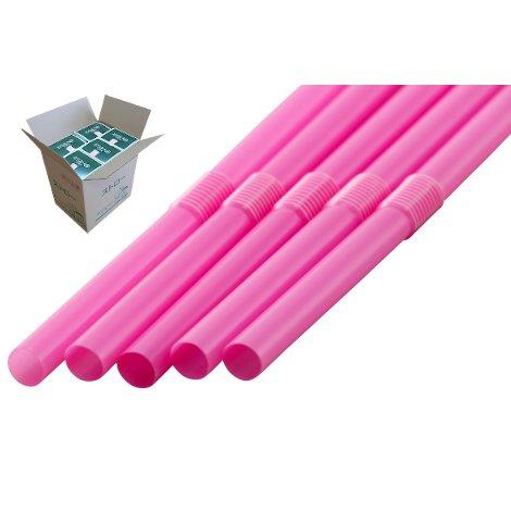 フレックスストロー 6mm×21cm 包装なし ピンク色 500本入×20箱【メーカー直送・代引き不可・時間指定不可】
