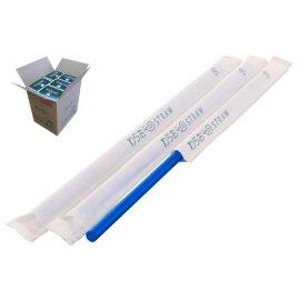 ストレートストロー 6mm×21cm 紙包装 青色 500本入×20箱【メーカー直送・代引き不可・時間指定不可】