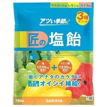 匠の塩飴 3種アソート(マスカット味・レモン味・スイカ味) 750g×10袋入●ケース販売お徳用