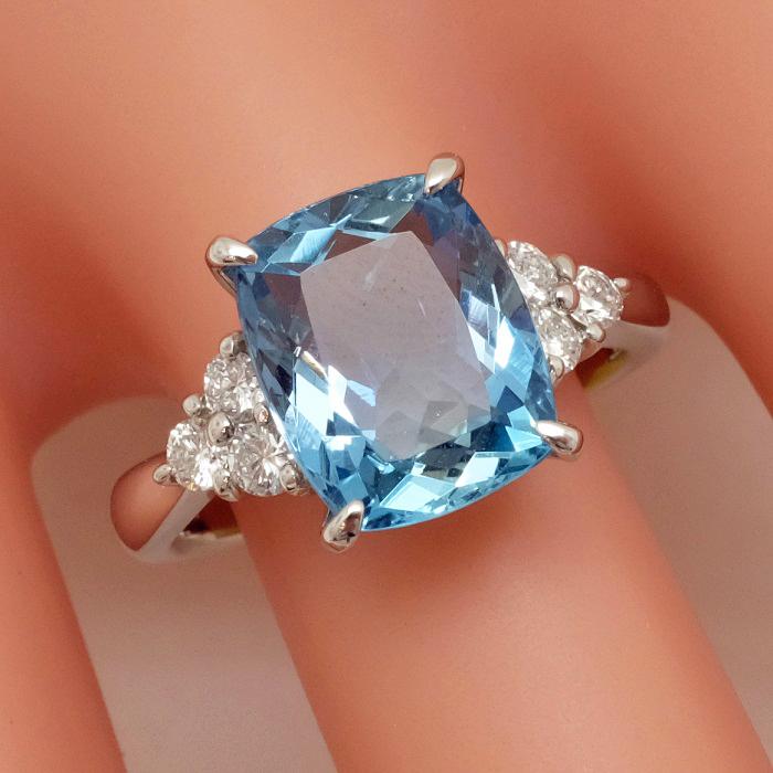 Pt900 アクアマリン リング 2,97ct ダイヤモンド 0,30ct 指輪 サイズ12号 鑑別書付 アクワマリン 【新品同様】【中古】