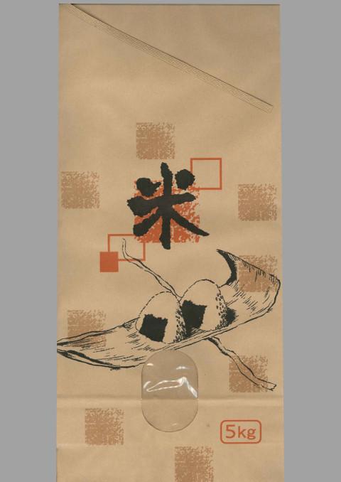 米袋 新袋 「おにぎり」 窓明紐付き 5kg用 200枚
