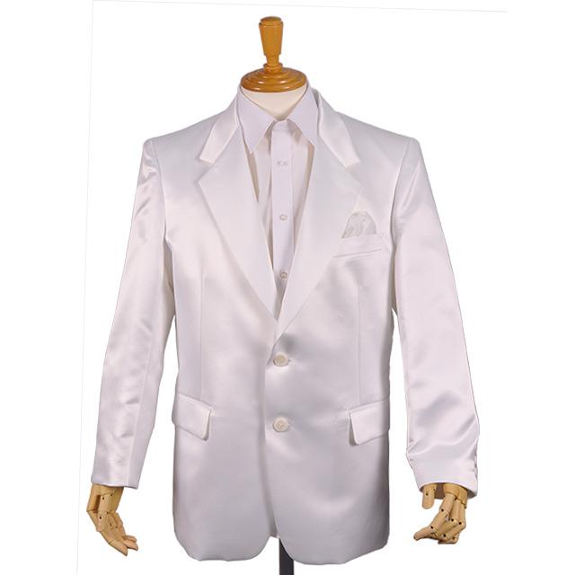 カラオケ衣装,ステージ衣装,ダンス衣装,舞台衣装,発表会,男性,メンズ【シングル2つボタン サテンジャケット】(白/ホワイト)(S・M・L・LL)【送料無料】