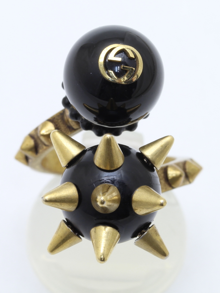 グッチ ダブルブラックボールスタッズリング #11.5