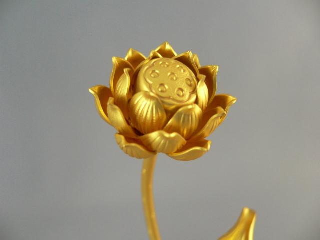 銅常花3寸金メッキ消金付(華鋲付)