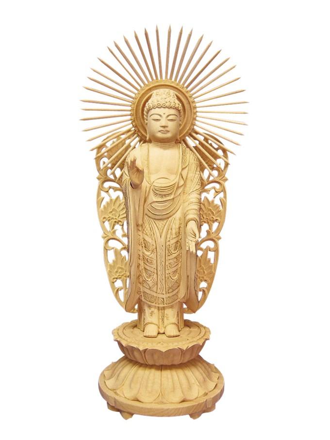 『仏像如来象』柘植略式丸台 西(金泥付) 唐草光背 4.0寸