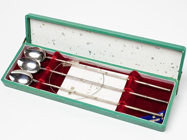 【送料無料】純銀 竹節ストロースプーン 3本 spoon-8お茶のふじい・藤井茶舗