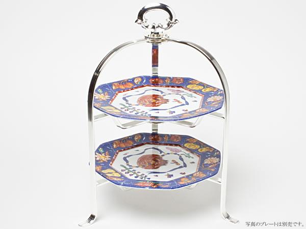 Hayakawa Silver ストライプ・ティースタンド(2段)16cm皿用 c-silverC19-70お茶のふじい・藤井茶舗