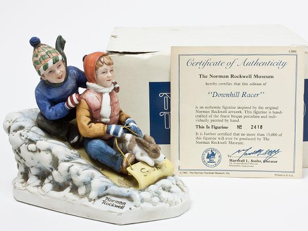 【送料無料】ノーマンロックウェル 陶器人形「Downhill Racer」 rockwell-02お茶のふじい・藤井茶舗