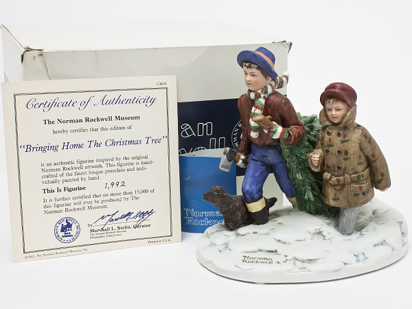 【送料無料】ノーマンロックウェル 陶器人形「Bringing Home the Christmas Tree」 rockwell-03お茶のふじい・藤井茶舗