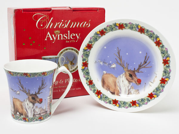 エインズレイ クリスマス マグ&プレート(ルドルフ) aynsley-16お茶のふじい・藤井茶舗