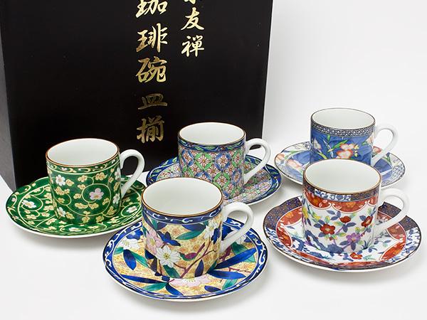 京友禅 珈琲碗皿揃(5客セット) yuzen-01 お茶のふじい・藤井茶舗