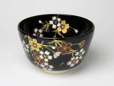 【送料無料】抹茶碗 紫雲 黒釉 枝垂桜 M-22 お茶のふじい・藤井茶舗
