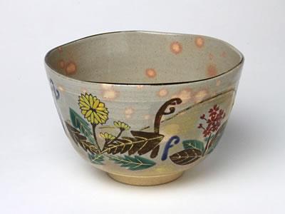 【送料無料】抹茶碗 紫雲 春の野 M-02 お茶のふじい・藤井茶舗