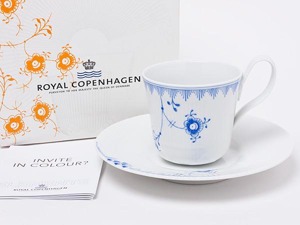 ロイヤルコペンハーゲン ブルーパルメッテ ハイハンドルカップ&ソーサー copen-50お茶のふじい・藤井茶舗