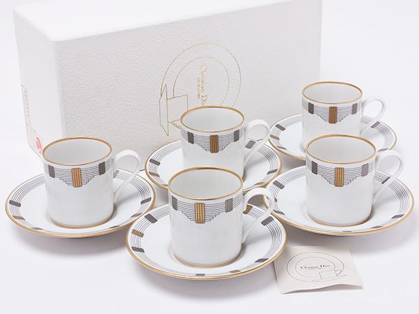 クリスチャンディオール GODRONデミカップ&ソーサー 5客セット dior-27お茶のふじい・藤井茶舗
