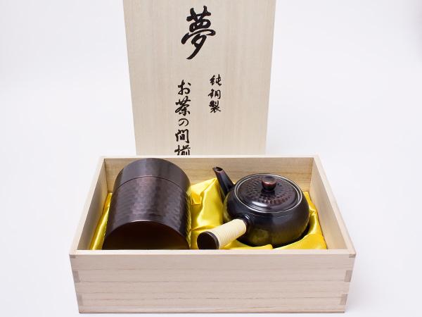 純銅製 茶器揃え(急須+茶筒+茶さじ) docha-4お茶のふじい・藤井茶舗