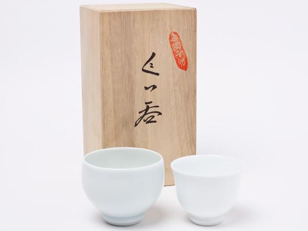 人間国宝 井上萬二 作 ぐい呑み 白磁/青磁 inouemanji-24お茶のふじい・藤井茶舗