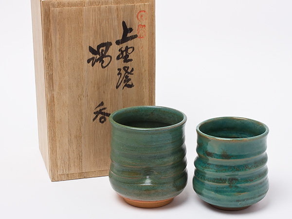 【送料無料】上野焼 夫婦湯呑(木箱入り) un95お茶のふじい・藤井茶舗